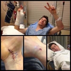 Nicky Hayden seusai menjalani operasi kecil. Sumber: TWB